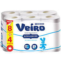 "Бумага туалетная Veiro ""Домашняя"" 2-слойная, 12шт., тиснение, белая"