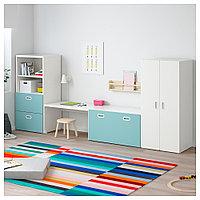 СТУВА / ФРИТИДС Комбинация д/хранения, белый, голубой, 300x50x128 см, фото 1
