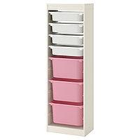 ТРУФАСТ Комбинация д/хранения+контейнеры, белый, белый розовый, 46x145 см, фото 1