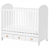 ГУНАТ Кроватка детская, белый, 60x120 см, фото 1