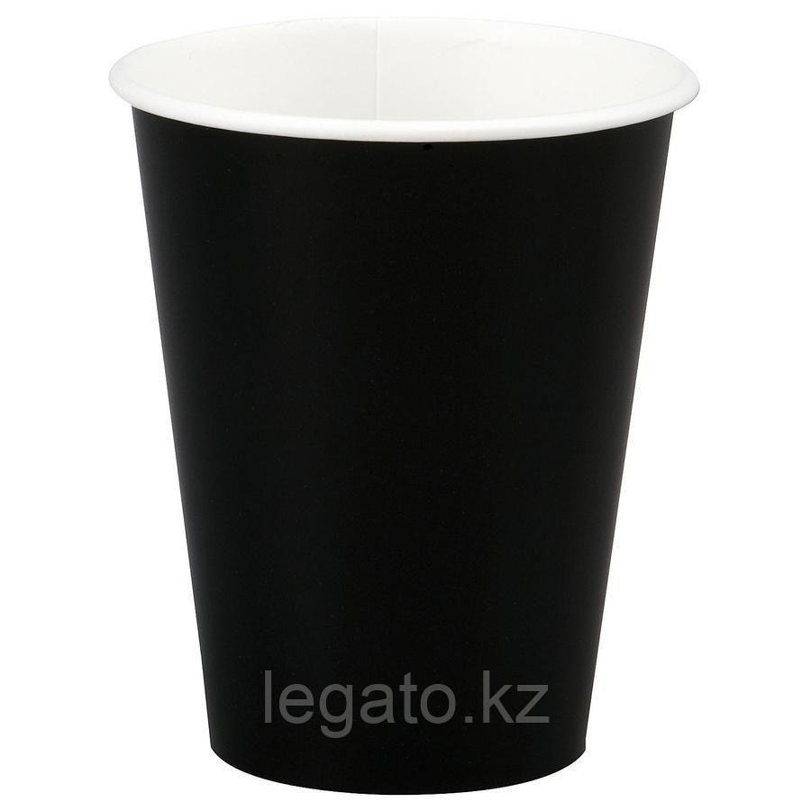 """Стакан бумажный для горячих напитков """"Черный """" 250 мл 50шт/уп  1000 шт/кор"""