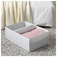 СТУК Ящик с отделениями, белый/серый, 34x51x18 см, фото 1