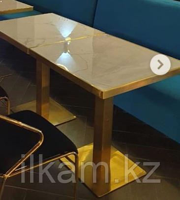 Стол из нержавейки,универсальный, столешница  под мрамор