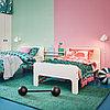 СЛЭКТ Раздвижная кровать с реечным дном, белый, береза, 80x200 см