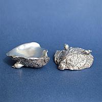 Парные солонки в виде устриц. Лондон 1961 год Серебро 925 пробы