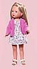 Карлота в платье с принтом и розовом кардигане, 28 см (Vestida de Azul, Испания)