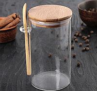 Банка для сыпучих продуктов с ложкой «ЭКО»1 литр, фото 1