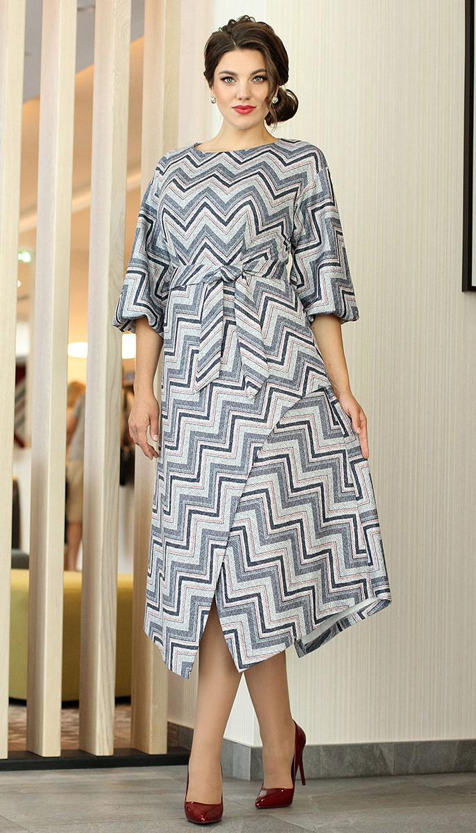 Платье Мода-Юрс-2539/1, серый-бордо, 46