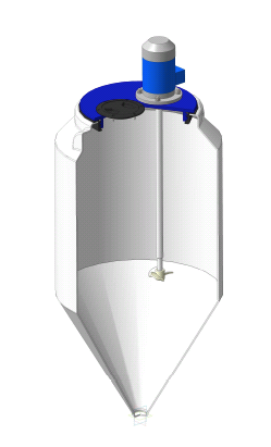 Емкость ФМ 120 в обрешетке c пропеллерной мешалкой