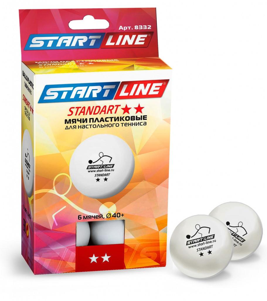 Start Line Набор 6 пластиковых мячей для настольнаго тенниса, d-40+mm