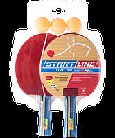 Start Line Набор дляя настольного тенниса, из 2 ракеток и 3 мячей