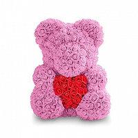Мишка из роз с сердечком (40 см), розовый