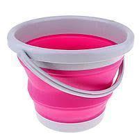 Ведро складное круглое 10 л, розовое