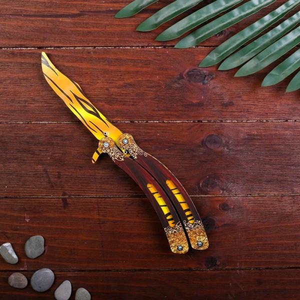 Деревянный Нож Бабочка CS-GO - Жёлтые Линии (26 см.)