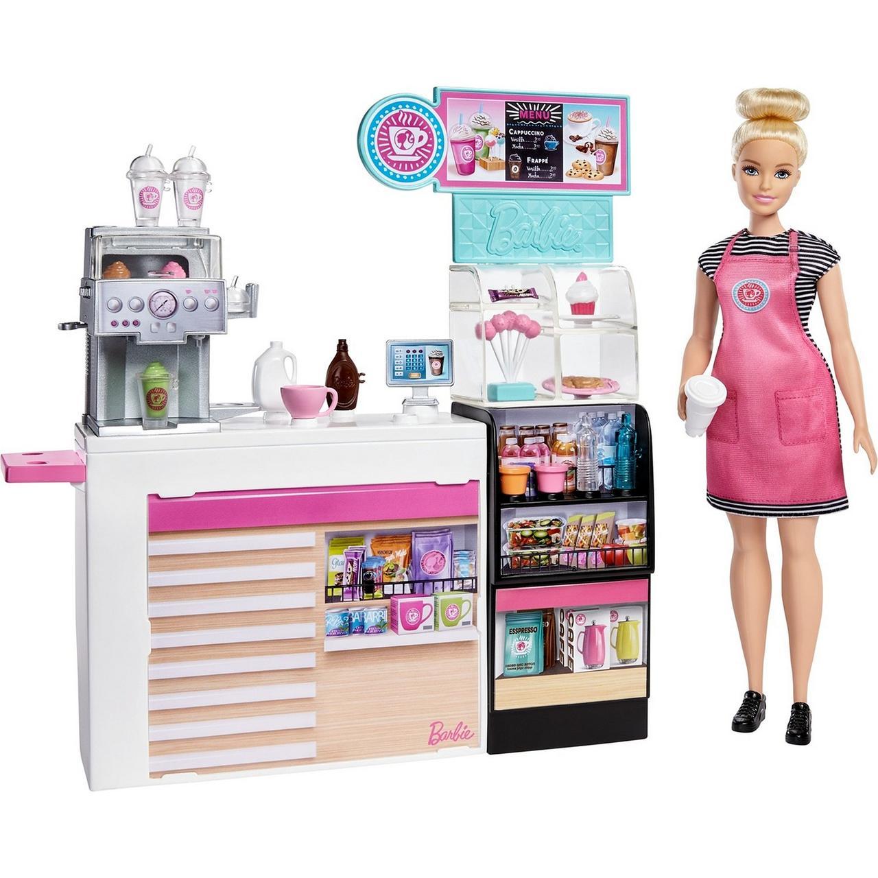"""Barbie """"Кем быть?"""" Игровой набор """"Кофейня"""", с куклой Барби"""