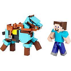 Minecraft Фигурка Майнкрафт Стив и лошадь в броне с аксессуарами, 7 см