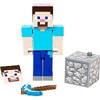 Minecraft Фигурка Майнкрафт Стив с аксессуарами, 7 см