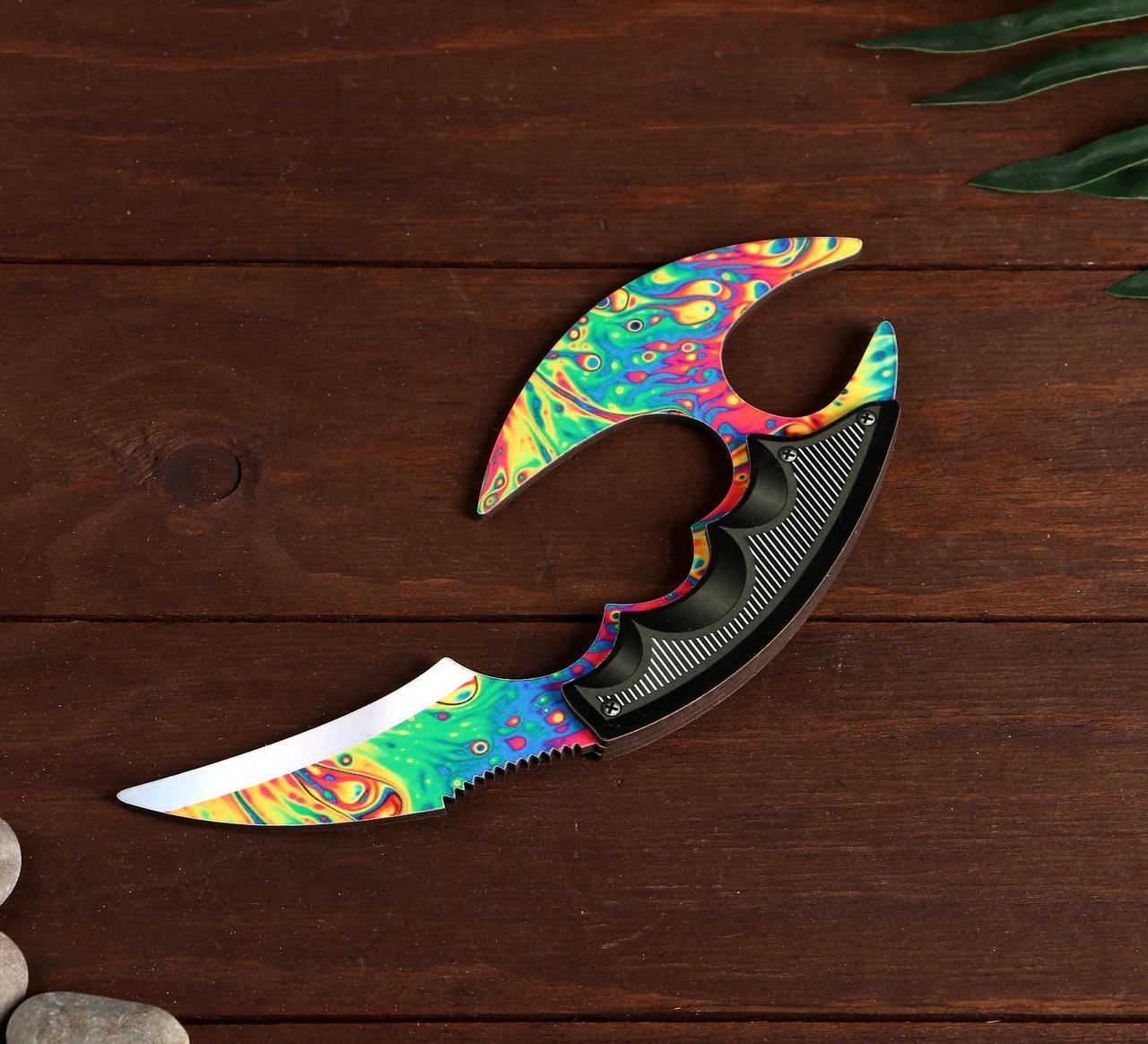 Деревянный Нож Керамбит с защитой пальцев цветной - Перекаленный Кислотный (23 см.)