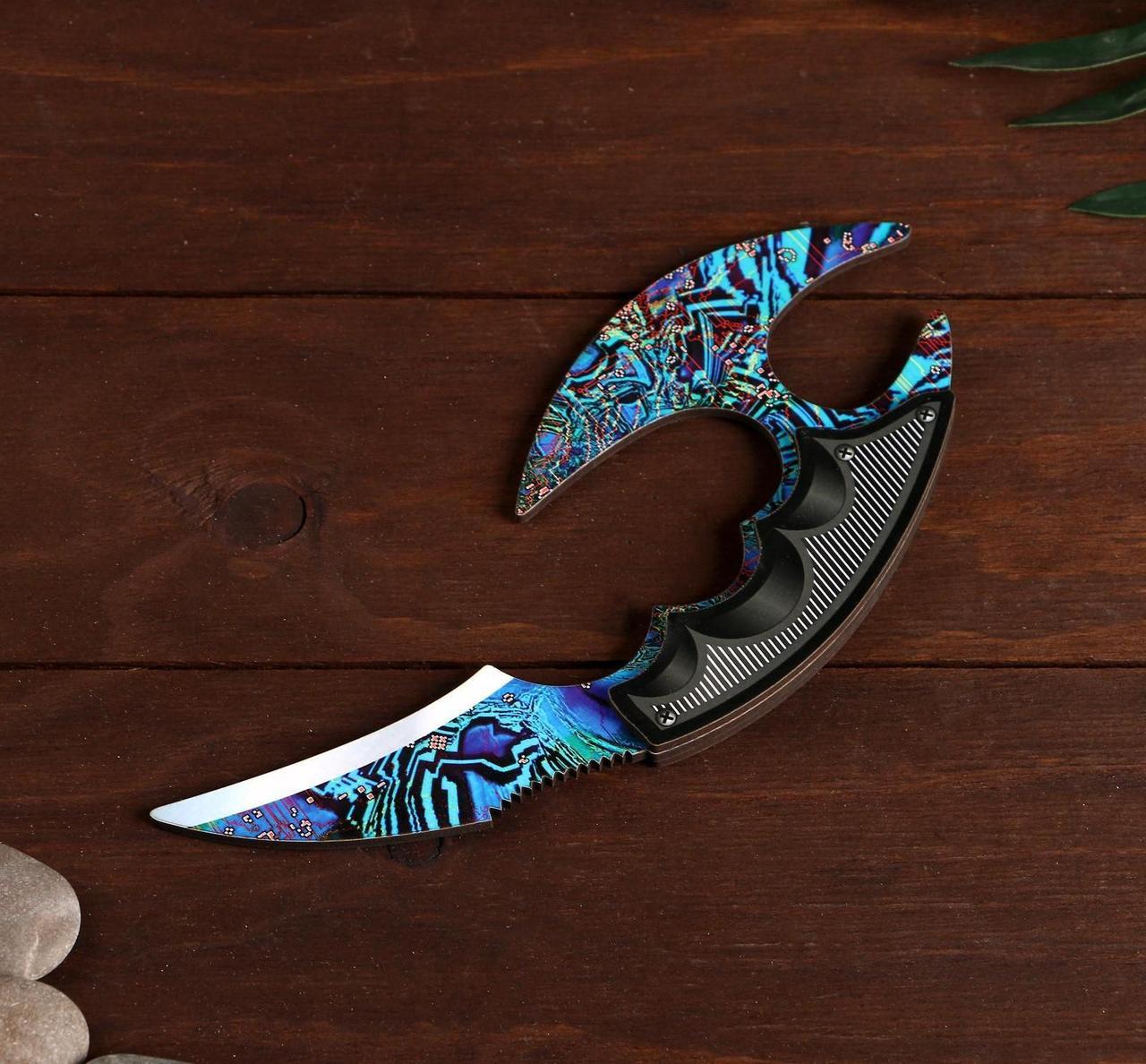 Деревянный Нож Керамбит с защитой пальцев цветной - Ледяная Закалка (23 см.)