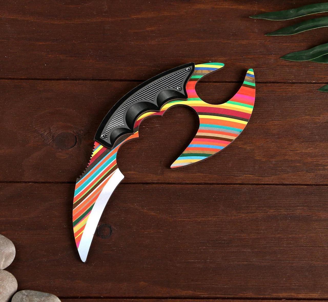 Деревянный Нож Керамбит с защитой пальцев цветной - Радужная Карамель (23 см.)