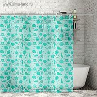 Штора для ванной комнаты «Ракушки», 180×180 см, полиэтилен, цвет зелёный