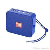 Колонка-гарнитура портативная bluetooth «hands free» T&G 166 с mp3-плеером (Синий)