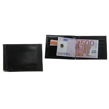 Зажим для купюр, отдел для монет и карт, цвет чёрный