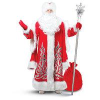 Карнавальный костюм 'Дед Мороз королевский', аппликация серебристая, р. 52-54