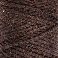Шнур для вязания без сердечника 100 хлопок, ширина 3мм 100м/200гр (темно-коричневый)