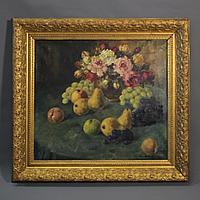 «Натюрморт с цветами и фруктами» Сharles Mangin (1892-1977) Бельгия, середина ХХ века.