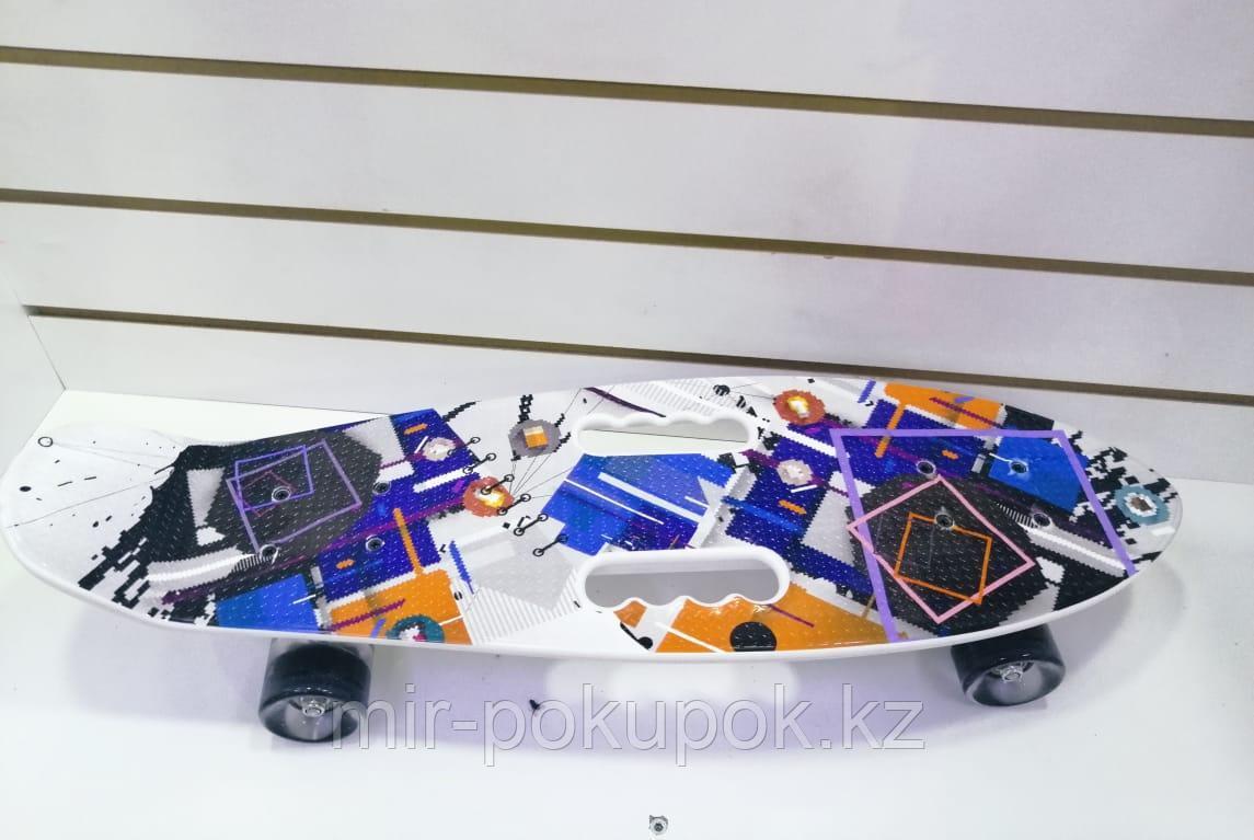 Детский Пенни борд со светящимися колесами с рисунками, с ручкой (Penny Board, скейт, пластборд), Алматы