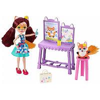 """Энчантималс кукла лиса с питомцем в наборе """"Художественная студия"""", фото 1"""