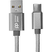 Кабель PowerPlant USB - USB Type-C, 1м, нейлон, металлический штекер, серый
