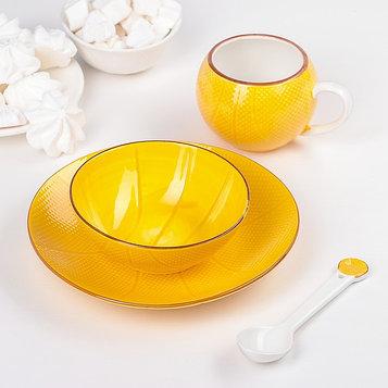 Набор детский посуды «Баскетбольный мяч», 4 предмета: тарелка 20 см, миска 13 см, чашка 180 мл, ложка