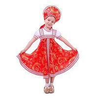 Русский народный костюм с кокошником, красно-бежевые узоры  бомбоны на шнурке, р. 28, рост 104 см