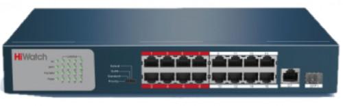 DS-S1816P - 16-ти канальный неуправляемый PoE коммутатор,