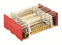 Блок распределительный 4р 11х7мм+2х8мм+2х9мм+1х12мм на DIN рейку с вын. клеммой DKC BD3160164