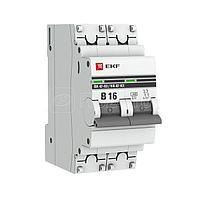 Выключатель автоматический модульный 2п B 16А 4.5кА ВА 47-63 PROxima EKF mcb4763-2-16B-pro