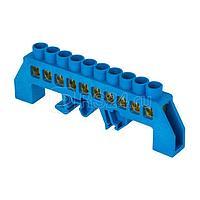 Шина нулевая N 6х9 10 отвер. латунь син. нейлоновый корпус комбинированный PROxima EKF sn0-63-10-dn