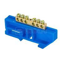 Шина нулевая N 6х9 6 отвер. латунь син. изолятор на DIN-рейку PROxima EKF sn0-63-06-d