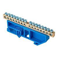 Шина нулевая N 6х9 16 отвер. латунь син. изолятор на DIN-рейку PROxima EKF sn0-63-16-d
