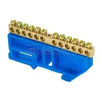 Шина нулевая N 8х12 12 отверстий синий изолятор на DIN-рейку латунь розн. стикер PROxima EKF sn0-125-12-d-r