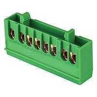 Шина нулевая PE 6х9 8 отверстий зеленый изолированный корпус на DIN-рейку латунь розн. стикер PROxima EKF sn0-63-8-ig-r
