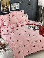 2-спальный евро комплект, розовый с клубничками