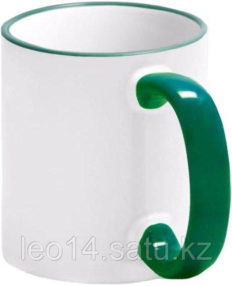 Кружка цветная для сублимации (белая с темно-зеленой каемкой и ручкой)
