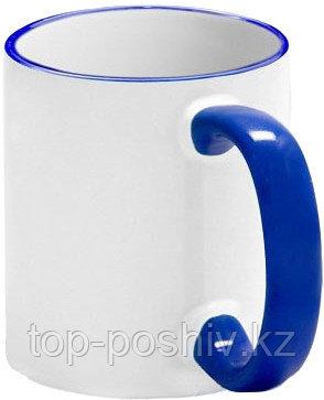 Кружка цветная для сублимации (белая с темно-синей каемкой и ручкой)