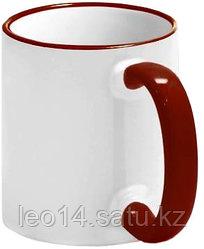 Кружка цветная для сублимации (белая с бордовой каемкой и ручкой)