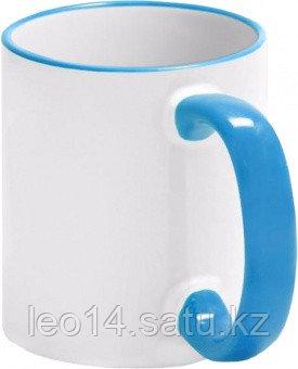 Кружка цветная для сублимации (белая с голубой каемкой и ручкой)