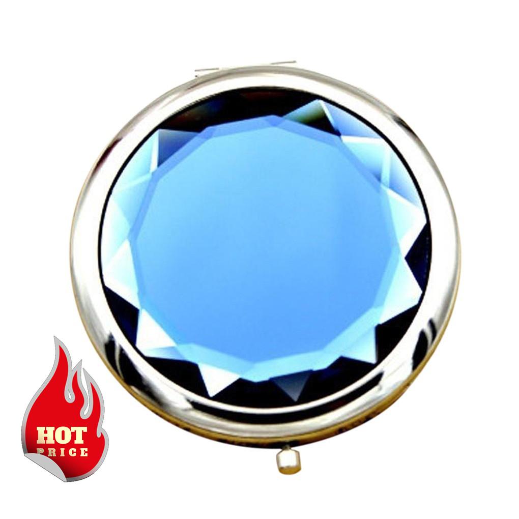 Карманное зеркальце двойное с увеличением, цвет синий. Черная пятница!