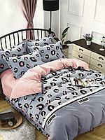 2-спальный евро комплект, лиловый с леопардовым принтом